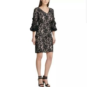 DKNY Black Lace Ruched Sleeve Cocktail Party Dress